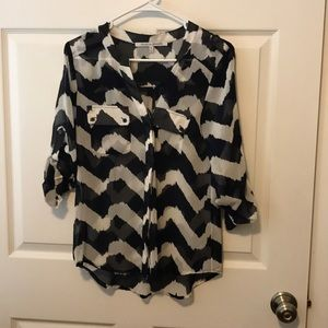 StitchFix Collective Concepts Navy/White Blouse XS